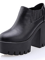 Women's Shoes  Chunky Heel Combat Boots/Round Toe Boots Casual Black/White