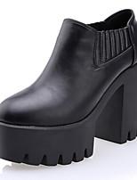 Zapatos de mujer Cuero Sintético Tacón Robusto Botas Anfibias/Punta Redonda Botas Casual Negro/Blanco
