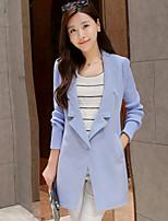 Women's Casual Medium Long Sleeve Long Trench Coat (Tweed/Wool/Polyester)