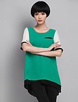 Women's Patchwork/Color Block Green Blouse , Round Neck Short Sleeve Pocket/Layered