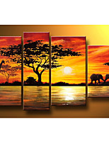 Hand-Painted Modern Abstract Elephant Giraffe Sunset African Landscape Oil Painting on Canvas  4pcs/set No Frame