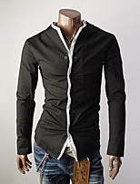 camisa regular de manga larga pura ocasional de los hombres (algodón / poliéster)