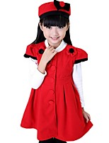Girls Spring Fall Flower Solid Color Princess Party Dress Coat with Hat (Cotton Blend)