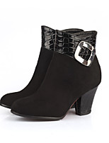 Women's Shoes Chunky Heel Fashion Boots/Round Toe Boots Casual Black/Blue/Burgundy
