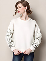 Women's Solid White Blouse , Round Neck Long Sleeve Embroidery/Flower