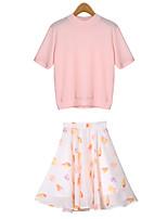 Women's Sexy Casual Print Cute Plus Sizes Micro Elastic Short Sleeve Regular Suit (Knitwear)