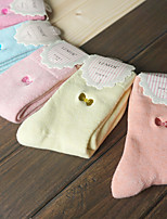 HONORV™ Women's Candy Color Cotton Napped Bow Pattern Socks(5 Pairs/Package,Mix Colors)