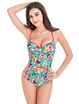 Women's Vintage Floral Print One Piece Swimwear