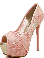 Women's Shoes Tulle Stiletto Heel Heels/Peep Toe Pumps/Heels Casual Pink/White