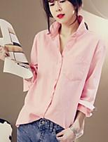 Women's Shirt Collar Shirt , Cotton Long Sleeve Regular