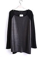 Women's Vintage/Casual/Party/Work Micro-elastic Long Sleeve Regular T-shirt (Knitwear/PU)