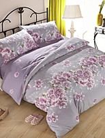 Purple Floral Thick Sanded Fabric for Autumn/Winter Set of 4pcs Queen/Twin Size