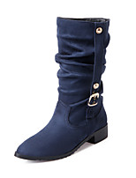 Women's Shoes Low Heel Motorcycle Boots/Pointed Toe Boots Office & Career/Dress/Casual Black/Blue/Brown/Beige/Burgundy