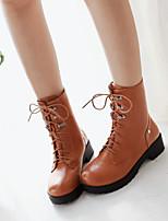Women's Shoes Kitten Heel Combat Boots/Round Toe Boots Office & Career/Casual Black/Yellow