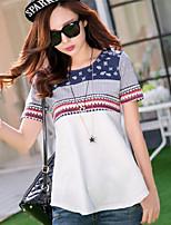 Women's Print Blue/White T-shirt , Round Neck Short Sleeve