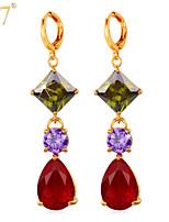 U7® Women's Gold Long Earrings Design 18K Gold/Platinum Plated Colorful Cubic Zirconia Gemstone Purple Red Drop Earrings