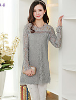 Women's Print/Solid/Lace Pink/White/Gray T-shirt , Round Neck Long Sleeve Lace/Embroidery