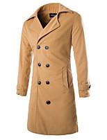 Men's Casual Pure Long Sleeve Long Coat