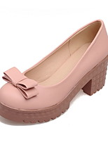 Women's Shoes Chunky Heel Heels/Platform/Round Toe Pumps/Heels Dress Blue/Pink/White/Beige
