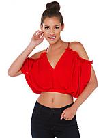 Damen T-Shirt  -  Ausgehöhlt/Rückenfrei Polyester Kurzarm V-Ausschnitt