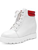 Chaussures Femme Similicuir Talon Plat Rangers/Bout Arrondi Bottes Bureau & Travail/Habillé Noir/Blanc