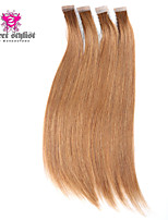 20inch 20pcs Silky Straight Skin Weft Tape In Brazilian Virgin Human Hair Extensions #8 Chestnut Brown