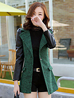 Women's Solid Red/Green/Gray Coat , Casual Long Sleeve Wool Blends/PU