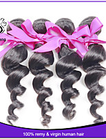 Peruvian Virgin Hair Loose Wave 4pcs 1B Color Natural Black Human Hair Extension Peruvian Loose Wave Peruvian Hair