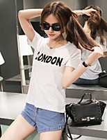 Women's Print/Letter White T-shirt , Round Neck Short Sleeve