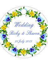 Personalized Circular Wedding Favor Tags - Flower Design (Set of 36)