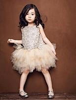 꽃의 소녀 드레스 - A라인 민소매 무릎길이 명주그물