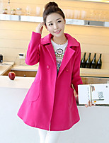 Women's Solid Yellow/Purple Coat , Casual Long Sleeve Cotton/Wool Blends