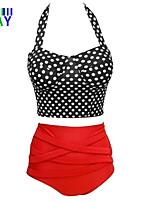 ZAY Women's Push-up Classical Dot Halter High Waist Bikinis