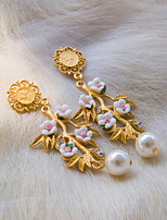 Fashion Gold Color With Pearl And Polymer Clay Flower Vintage Earring H0253SD