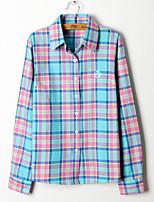 Women's Vintage European Style Plaid Blouse Long Sleeve Regular Shirt (Cotton)