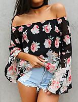 Women's Floral Black Blouse , Bateau Long Sleeve