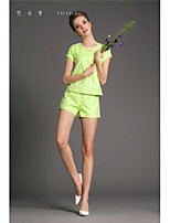 Women's Polka Dot T-shirt , Round Neck Short Sleeve Flower