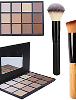 15Colors Contour Face Powder Mirror Makeup Palette+2PCS Powder Brush