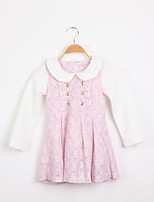 Girl's Cotton Blend/Lace Dress , Summer Long Sleeve