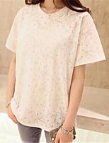 Women's Casual/Plus Sizes Inelastic Short Sleeve Regular Blouse (Lace)