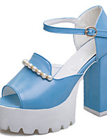 Women's Shoes Chunky Heel Open Toe Sandals Dress Blue/Pink/White