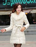 Women's Casual Artificial Fox Fur Collar Plus Size Thick Long Sleeve Regular White Duck Down Coat