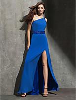 Fiesta formal Vestido - Azul Océano Corte Recto Hasta el Suelo - Hombros Caídos Georgette