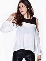 Women's Sexy/Casual Micro Elastic ¾ Sleeve Regular Blouse (Chiffon)
