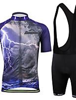 Outdoor Sports  Men's Short Sleeve Cycling Jersey and Bib Shorts Set