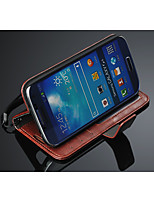 Para Funda Samsung Galaxy Soporte de Coche / Cartera / con Soporte / Flip Funda Cuerpo Entero Funda Un Color Cuero Sintético Samsung S4