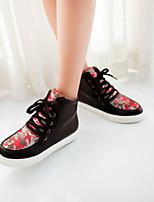 Chaussures Femme Similicuir Talon Plat Bout Arrondi Chaussures de Sport Bureau & Travail/Décontracté Vert/Rose/Rouge/Motif Animal