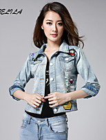 Women's Casual Long Sleeve Short Jeans Coat