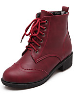 Women's Shoes Chunky Heel Fashion Boots/Round Toe Boots Dress/Casual Black/Brown/Red