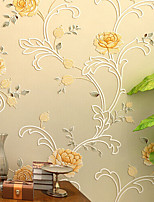 nouvelle rainbow ™ contemporaine papier peint art déco mur jaune chaude couvrant art mural non-tissé de tissu